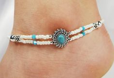 Anklet, Ankle Bracelet, 2 Double Strand Blue Turquoise, Turquoise Swarovski Crystals, Beaded, Customizable, Wedding, Beach, Vacation