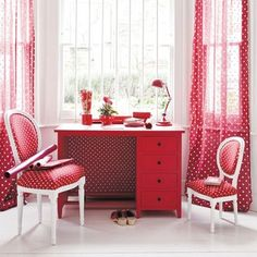 red and polka dots.