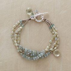 PALE PALETTE BRACELET Chrysoberyl & moss aquamarine with apatite. Inspiration photo.