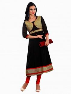 Black Georgette Anarkali Kurti With Embroidery Work (With Cotton Inner)