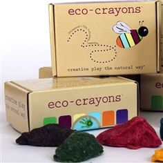 Eco-Crayons by Eco Kids USA are the eco-friendly alternative to traditional crayons. Made with 25% bees wax and 75% fruit plant and vegetable extracts. Shaped like rocks, these crayons are ideal for little hands to hold and never need to be sharpened. Each box includes six earthy colors. #holiday #kids #art #healthy