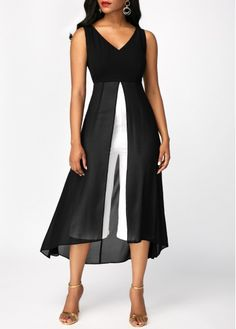 Sleeveless Chiffon Panel V Neck Black Dress Sleeveless Chiffon Panel V Neck Black Dress Cheap Maxi Dresses, Trendy Dresses, Tight Dresses, Sexy Dresses, Casual Dresses, Fashion Dresses, Women's Fashion, Fashion Jumpsuits, Fashion Site