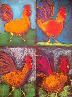"Sample of the 4th grade Roosters!   Worked on the ""Art  Show & Sell"" fundraiser that will happen on the 28th at the kids school. I went in..."