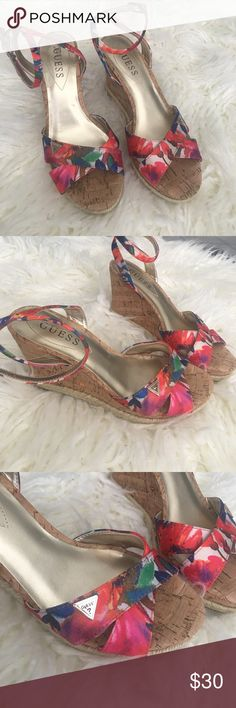 "Guess Madolyn Floral Multi-Color Wedge Sandal Almost new, no flaws. FLORAL PRINT FABRIC UPPER ANKLE STRAP WITH ADJUSTABLE BUCKLE 1¼"" PLATFORM, 3¾"" CORK WEDGE HEEL WITH ESPADRILLE TRIM Guess Shoes Wedges"
