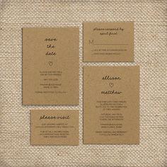 Wedding Invitation Suite, Shabby Chic, Rustic, Kraft Paper, Simple, 2015, Trendy, Barn Wedding