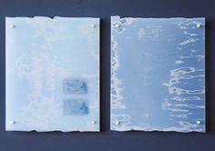 "Michelle Murillo's ""Adrift 1957 - 1961 Azael Llanos, Maria Magdalena Perez de Llanos - Great Grandparents"", (2015); kilnformed glass, digital decal, sandblasted; 21"" x 36"" x 1.75"" |  #MichelleMurillo #Adrift #BullseyeProjects #kilnformed #Decal #Sandblasted #Digital #Printmaking #Glass #GlassArt #Abstagram #Blue #ContemporaryGlass #ContemporaryArt #Identity #kilnforming #history #Printmaker #BullseyeGlass #BullseyeGlassCo #Gallery #Exhibition #PDXArt #Portland"