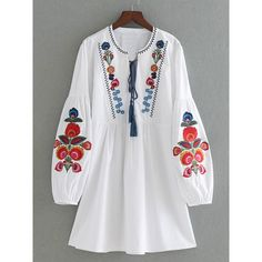 SheIn(sheinside) Drop Shoulder Flower Embroidery Tassel Tie Dress (120 RON) ❤ liked on Polyvore featuring dresses, white, long sleeve dress, white embroidered dress, white long-sleeve dresses, summer dresses and white dress