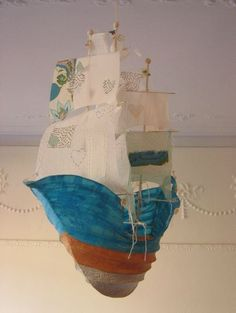 papier mache boat by Ann Wood -fortitude Her sails are sheer swiss dot salvaged from an edwardian lawn dress and some other vintage bits Colored Masking Tape, Flying Ship, Paper Art, Paper Crafts, Ann Wood, Bird Party, Paper Ship, Middle School Art, Fabric Birds