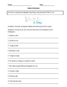 Similes Worksheet Similes or Metaphors Part 1 Intermediate | 4th ...