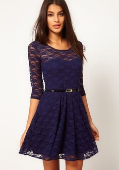 Dark Blue Belt Collarless Seven's Sleeve Lace Dress