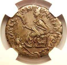 C.A.D. 117-118 Cilicia Provincial Silver Tridrachm. Crowned Tyche seated left on throne holding palm frond, at feet the river god Cyndus swims left. (9.75 gms) Tarsus Mint NGC Ch VF Strike 5/5 Surface 4/5.   eBay!