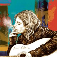 Kurt Cobain Stylised Pop Morden Art Drawing Sketch Portrait Art Print by Kim Wang. All prints are professionally printed, packaged, and shipped within 3 - 4 business days. Choose from multiple sizes and hundreds of frame and mat options. Kurt Cobain Painting, Kurt Cobain Art, Kurt Cobain Photos, Banda Nirvana, Nirvana Art, Rockabilly, Historia Do Rock, Famous Legends, Art Drawings Sketches