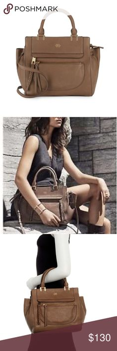 VINCE CAMUTO Dark Beige Ayla Leather Satchel Brand new with tags.  Brown leather (official color label is dark beige 02) Ayla Satchel by Vince Camuto.  Measurements are:  10.5 Hx 14 Wx 4 D.  Please note:  the fourth photo shows Ayla Satchel in a different color. Vince Camuto Bags Satchels