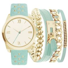 American Exchange Mint Womens Gold-Tone Studded Strap Bracelet And... (140 PLN) ❤ liked on Polyvore featuring jewelry, watches, mint, mint watches, studded jewelry, mint green watches, studded watches and mint green jewelry