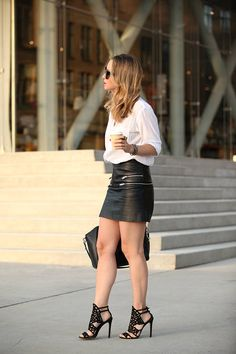 Black Zip Detail Leather Mini Skirt