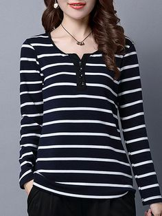 Specification: Material:Cotton Style:Casual Collar:O-neck Pattern:Stripe Sleeve Length:Long Sleeve Color:Blue,Gray Season:Spring,Fall,Winter Package included: 1*T-Shirts