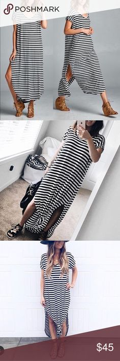 Oversized loose fit slit ling maxi dress boho chic New Super comfy. Oversized, loose fit  v-neck long maxi dress featuring a horizontal stripe pattern and side slits and side pockets. high quality stretchy fabric.  Model is wearing size SMeasurements takes from size SLength: 59Chest: 23  ⭕️price firm unless bundled ⭕️ Dresses Maxi
