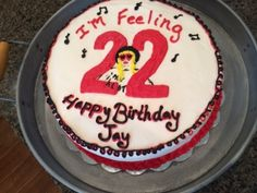 """So my oldest son always has to do something fun and kind of """"different """" for his birthday theme. Taylor Swift 22, Taylor Swift Party, Taylor Swift Birthday, 22nd Birthday Cakes, Birthday Cake For Him, Birthday Ideas For Her, Birthday Desserts, 22 Birthday, Anime Cake"""
