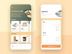 Get Coffee app by Ahmed Karaman 🔥 on Dribbble Web Design, App Ui Design, Mobile App Design, User Interface Design, Flat Design, Graphic Design, App Design Inspiration, Tea Brands, Mobile App Ui