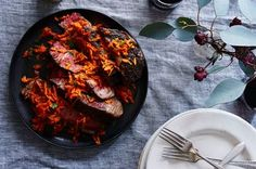 Slow-Cooked Rib Eye Topped with Spicy Harissa Carrots Recipe on Food52