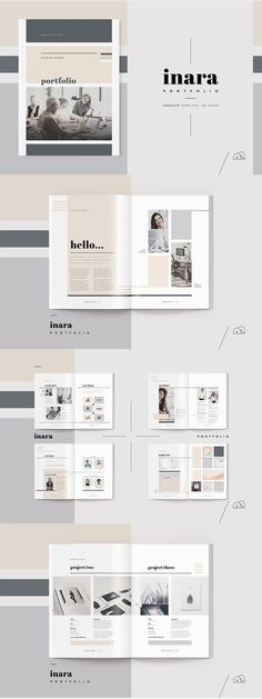 How to Design the Right Kind of Web Design Portfolio For Your Business? : Portfolio - Inara - Stand out from the competition, with this new portfolio template from the 'Inara' range. A complete document, created by an expe. Portfolio Design Layouts, Portfolio Graphic Design, Layout Design, Portfolio D'architecture, Architecture Portfolio Template, Design De Configuration, Mise En Page Portfolio, Landscape Architecture Portfolio, Portfolio Covers