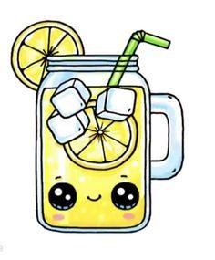 Lemonade - drawings of girls - Lemonade - Kawaii Girl Drawings, Cute Animal Drawings Kawaii, Cute Little Drawings, Cute Food Drawings, Cute Disney Drawings, Cool Art Drawings, Cartoon Drawings, Food Drawing Easy, Summer Drawings