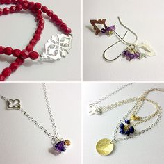 New handmade jewellery necklaces and earrings in silver, gold, gemstones and glass beads - range out mid-September.