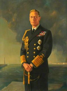 Portrait of King George VI.  Father of the present Queen.  He and his wife, also Queen Elizabeth (later the Queen Mother), were on the throne during WWIi and stayed in London despite the very real personal danger.  They were with their people through all the hardships of the war and were instrumental in keeping up the morale of the nation. George Vi, George The Sixth, Uk History, British History, Asian History, Tudor History, History Facts, Ancient History, Rms Titanic