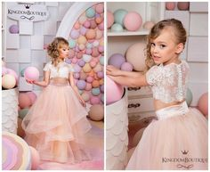 Ivory and Blush Pink Flower Girl Dress by KingdomBoutiqueUA
