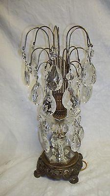 VINTAGE BRASS U0026 CRYSTAL CANDELABRA TABLE CHANDELIER LAMP