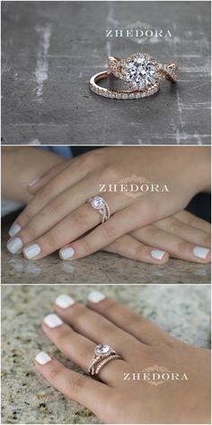 2.15 CT Round Cut Engagement Ring band set in Solid 14k or 18k Rose Gold Bridal, Wedding Set , Engagement Set