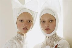sasha pivovarova and gemma ward photographed by steven meisel. My two most favourite models ever.