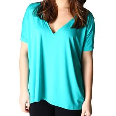 Bright Turquoise Piko 1988 V-Neck Short Sleeve Top