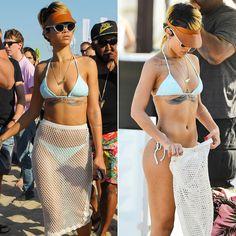 Rihanna showed off her fit bikini body for a beach day in Sopot, Poland, on Sunday. She accessorized her skimpy swimwear with a sexy fishnet skirt for the Rihanna Show, Mode Rihanna, Rihanna Riri, Rihanna Style, Rihanna Bikini, Rihanna Body, Bikinis, Swimwear, Tattoos
