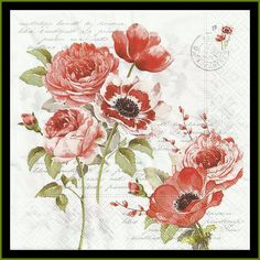 Red Flowers On Tissue Paper Napkins Use For by stampsandmore