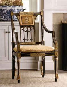 Hand Painted Sheraton Style Armchair In Antiqued Black And Gold Finish,  Cane Seat And Upholstered Cushion