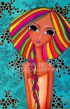 ROMI LERDA, Artista Plástica Argentina Kunstjournal Inspiration, Art Journal Inspiration, Painting People, Painting For Kids, Face Stencils, Frida Art, Happy Paintings, Arte Popular, Whimsical Art