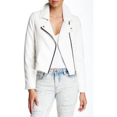 BLANKNYC Denim Faux Leather Asymmetrical Zip Jacket ($50) ❤ liked on Polyvore featuring outerwear, jackets, play doctor, asymmetrical zipper jacket, faux leather jacket, blanknyc, fake leather jacket and white zip jacket