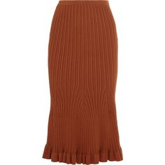 Victoria Beckham Fluted ribbed-knit stretch-cotton midi skirt (€945) ❤ liked on Polyvore featuring skirts, pull on skirts, victoria beckham, rib knit skirt, ribbed midi skirt and ribbed skirt