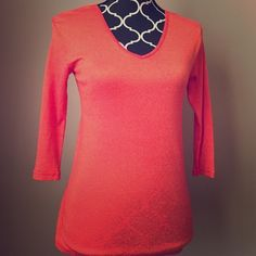 Michael Stars Orange Top One size fits most. Stretchy! 3/4 length sleeves. Michael Stars Tops