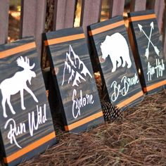 Learn how to easily make custom rustic woodland signs! They are perfect for any woodland nursery, kid's room, or man cave! Woodworking For Kids, Beginner Woodworking Projects, Teds Woodworking, Woodworking Crafts, Woodworking School, Popular Woodworking, Woodworking Software, Youtube Woodworking, Woodworking Equipment