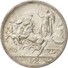 Italy, Vittorio Emanuele III, 2 Lire, 1915, Rome, AU(55-58), Silver, KM:55