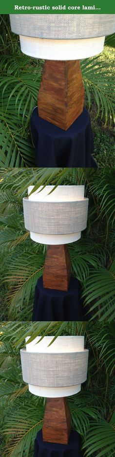 """Retro-rustic solid core laminated wood table lamp base in authentic iron rust finish. This """"Plaza"""" solid, laminated wood table lamp base is finished in Modern Masters, Metal Effects Rust : It's coated in real oxidized iron, real rust. No two rusted Plaza lamps are alike. With the included 8 1/2"""" harp, this lamp is 21"""" tall and 5 1/2"""" square at the base. The wood portion of the base is 10 1/2"""" tall. The tiered, small lamp """"Miranda"""" lampshade, shown in white and gray Sultana Burlap, is sold..."""
