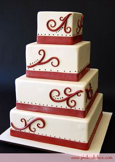 Red Scrolls Wedding Cake by Pink Cake Box in Denville, NJ.  More photos at http://blog.pinkcakebox.com/red-scrolls-wedding-cake-2010-10-14.htm  #cakes