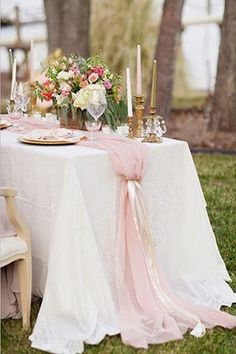 When it comes to creating eye-catching tablescapes, I'm a sucker for a beautiful table runner.  I don't need a tablecloth and centerpieces can be simple, for that matter.  Table runners can add instant style to any wedding theme, be it rustic or elegant.