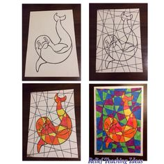 Fractured pictures. Teaching contrasting colours and hot/cool colours