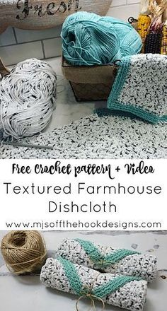 Crochet Tutorial Patterns Free Rustic Farmhouse Dishcloth Pattern - MJ's off the Hook Designs Easy beginner rustic farmhouse dishcloth crochet pattern Textured stitch with ribbed border Beau Crochet, Knit Or Crochet, Crochet Gifts, Crochet Stitches, Free Crochet, Dishcloth Crochet, Crochet Dishcloths Free Patterns, Crochet Ideas, Knitted Washcloths