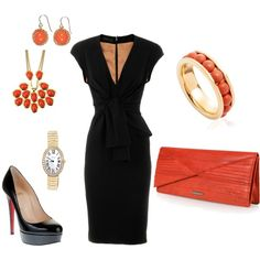 Black and coral, created by jowanadanz on Polyvore