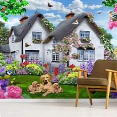 Stunning Delphinium Cottage wall mural from Wallsauce. This high quality Delphinium Cottage wallpaper is custom made to your dimensions. Easy to order and install plus FREE UK delivery within 2 to 4 working days. Ravensburger Puzzle, Cottage Wallpaper, Home Wallpaper, Wallpaper Murals, Cottage Art, Fairytale Cottage, Stunning Wallpapers, Delphinium, Designer Wallpaper