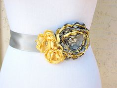 Yellow Grey Wedding Sash with Swarovski Pearls and Crystals for a Bride, Bridesmaid, Special Event or Formal Occasion by TreasuredMemoryLane on Etsy https://www.etsy.com/listing/250481390/yellow-grey-wedding-sash-with-swarovski